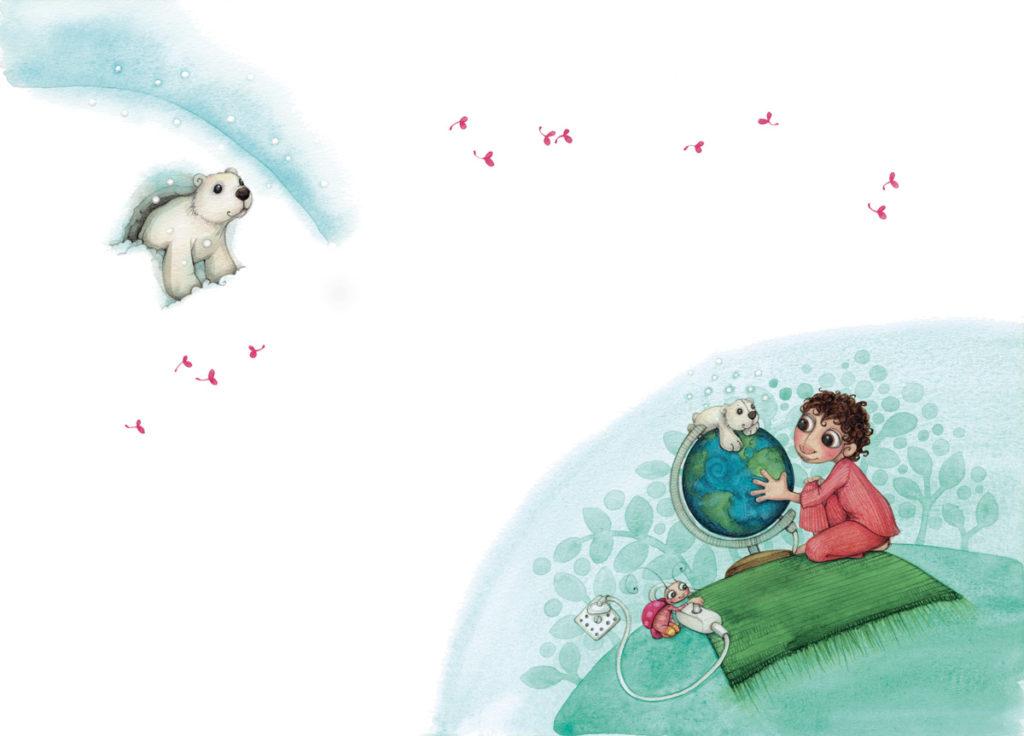 Un enfant est assis sur un tapis, rêvant en regardant une mappemonde. Une coccinelle joue avec l'interrupteur, tnadis qu'un ours en peluche est posé sur le globe. Plus loin, un ourson polaire sort d'une grotte ennegiée.