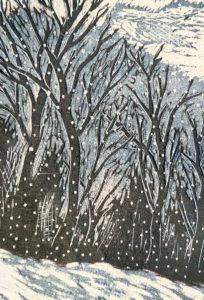 Une des 125 cartes à raconter de Susan Litsios représantant une forêt sombre aux arbres dénudés, sous la neige,