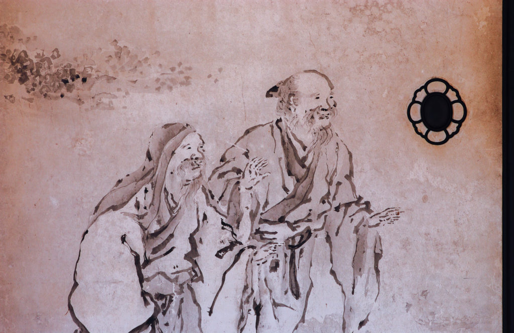 Fresque traditionnelle ornant les portes du Rokuon-ji, le pavillon d'or de Kyoto.