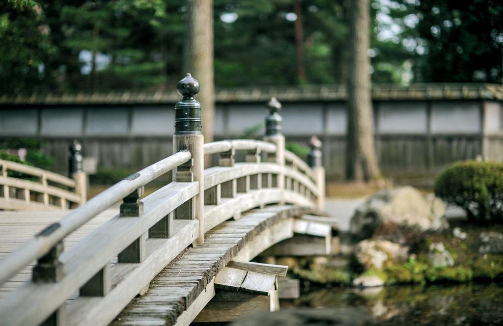 Dans une forêt moussue, un bas pont en bois traverse silencieusement un lac.
