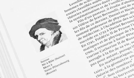 Illustration de Leonhard Euler dans le livre «90 petits génies des mathématiques, de Jean-Michel Kern.