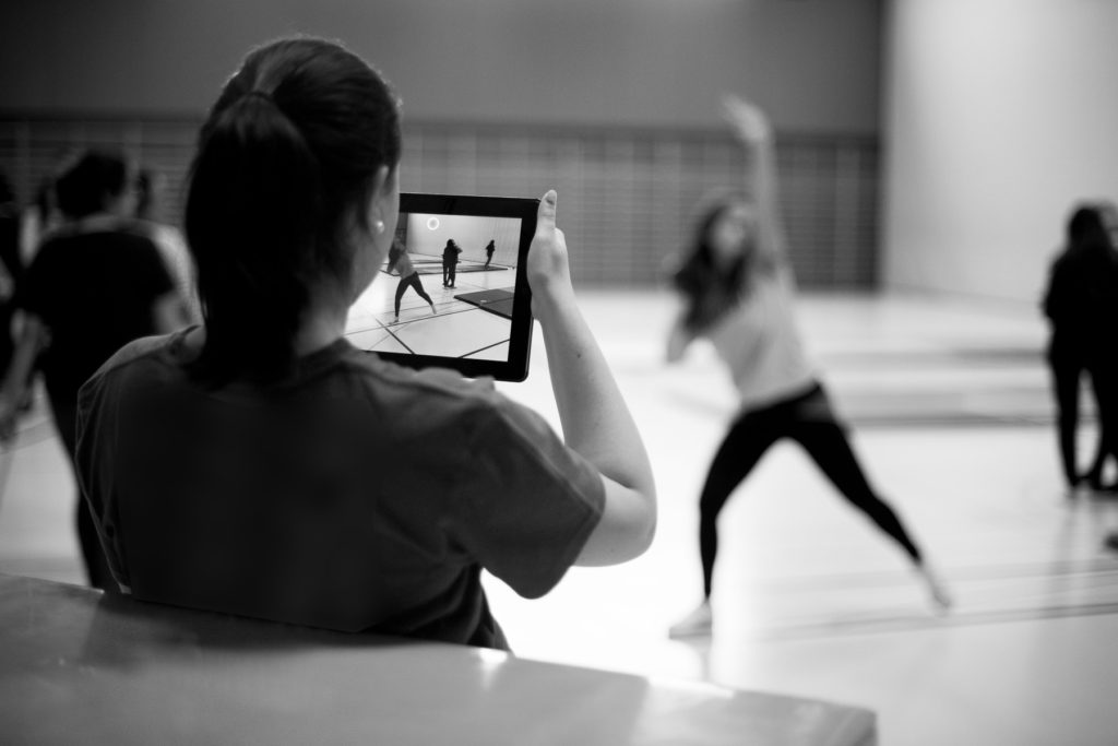 Les tablettes sont également utilisées durant les cours d'éducation physique.