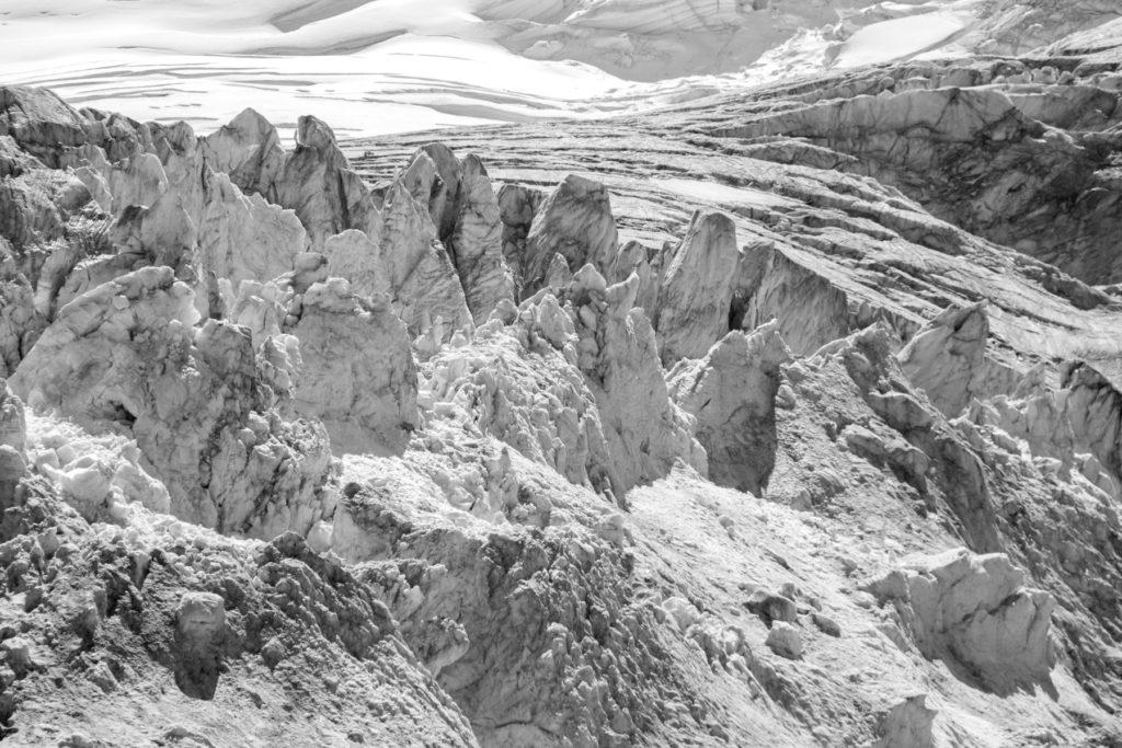 Photo du glacier de Moiry (détail) depuis la cabane de Moiry.