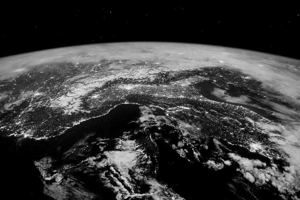 Image de la callote glaciaire en train de fondre, vue de l'espace.