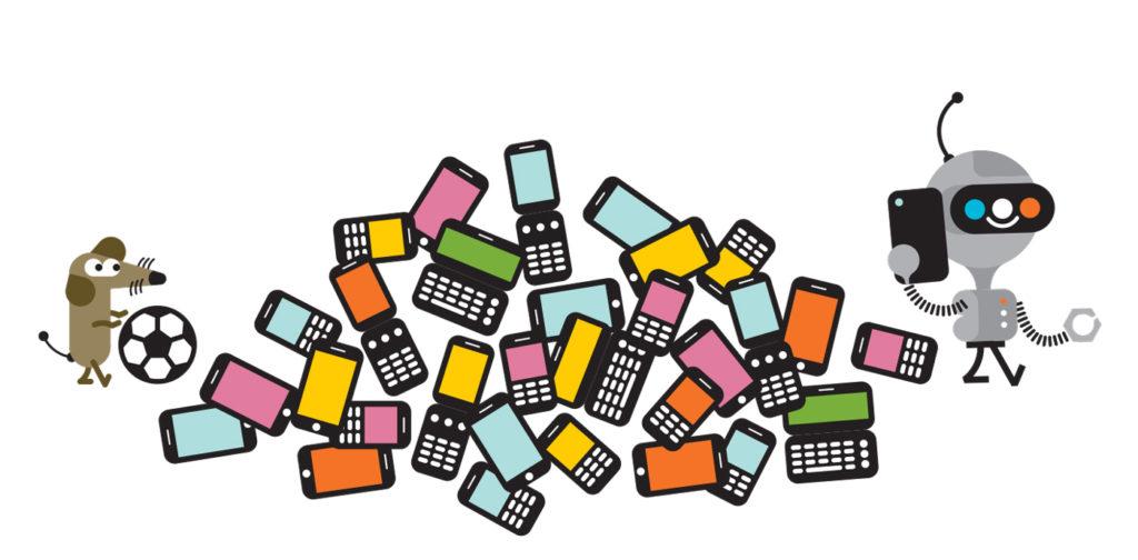 Infographie dénonçant la sur-consommation de smartphones.