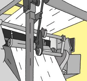 Illustration de papier passant dans une rotative.